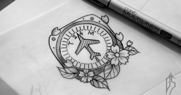 Plane compass tattoo sketch custom tattoo antalya for Renaissance tattoo san clemente