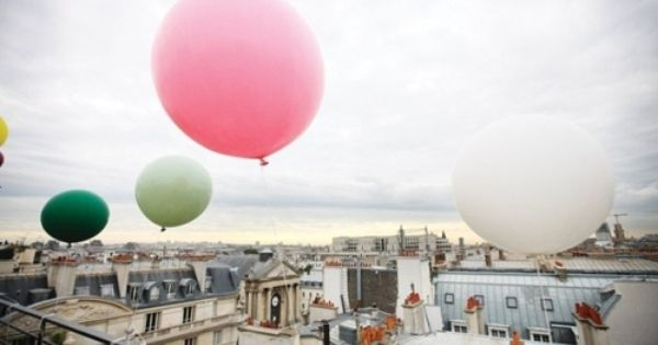 colourful balloons over Paris travel
