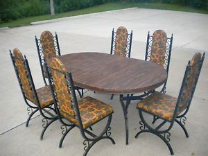 Vintage Retro 1960 S Wrought Iron Dining Table And 6 Chairs 2 Leaves Pu Ohio Wrought Iron Dining Table Wrought Iron Chairs Wrought Iron Patio Set