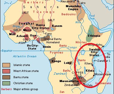Kilwa Africa Map A map displaying Kilwa and other African kingdoms | African