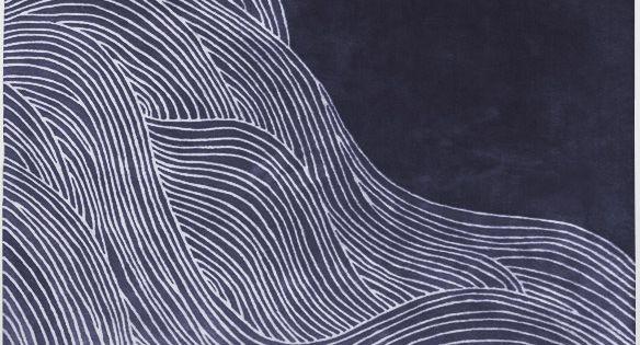 Modernrugs Com Ocean Waves Doodle Blue Modern Rug Blues