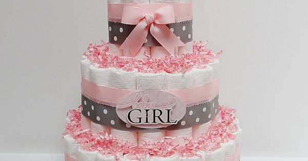 Baby Girl Pink And Gray Diaper Cake Baby Shower Centerpiece on Etsy,
