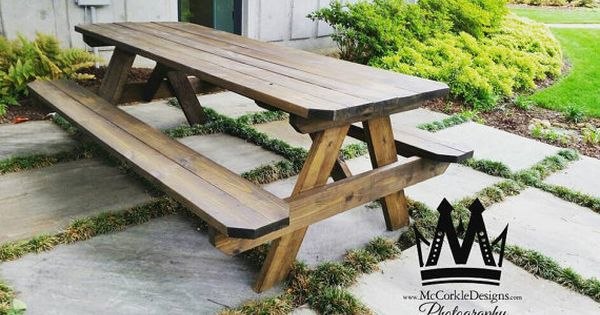 8ft Picnic Table With A Dark Walnut Stained Finish And Attached Bench Seating Shipping Method Comes Unassembled Picnic Table Dark Walnut Stain Stained Table