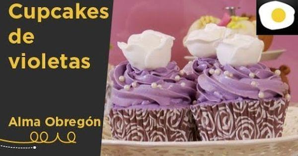 Receta de cupcakes de violetas y merengue suizo de alma - Videos de alma obregon ...