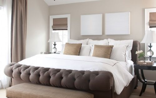 Master Bedroom ideas. Love the colors and brown bed frame