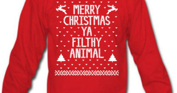 Merry Christmas Ya FILTHY Animal - funny hip retro movie xmas cool