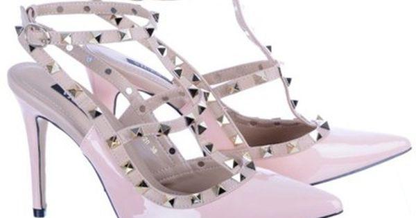 Szpilki Z Cwiekami Paseczki Cwieki Pudrowe Rozowe 6740806365 Oficjalne Archiwum Allegro Stiletto Valentino Studs Heels