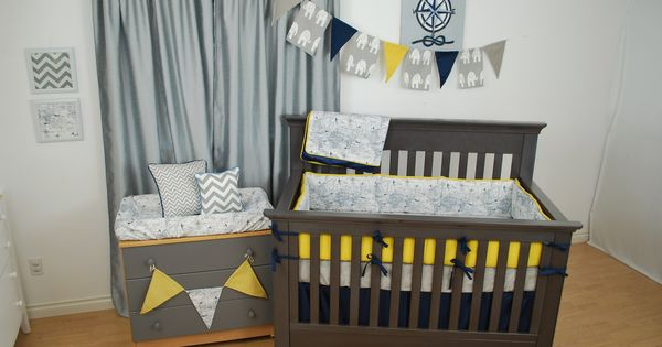 Navy world map crib bedding with bright yellow and grey in for World crib bedding