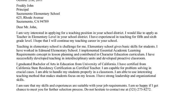 Elementary Teacher Resume Cover Letter Examples Resume