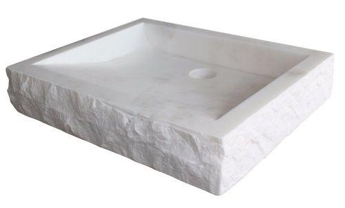 Chiseled Rectangular Natural Stone Vessel Sink White Marble Stone Vessel Sinks Rectangular Vessel Sink Rectangular Sink Bathroom
