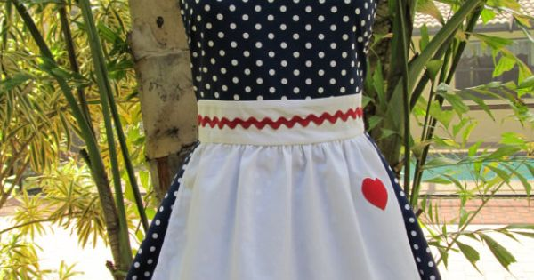 I Love Lucy Apron.. Vintage Inspired Sweetheart Style with a handmade Heart..Navy