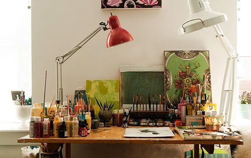 Art studio desk space How inspiring!