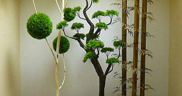 Jardinera horizontal con decoraci n de bonsai rbol de for Decoracion monoambientes 30 mts
