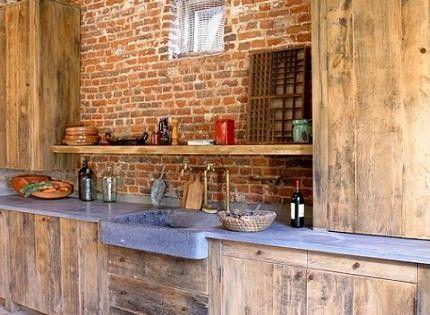 Rustic kitchen with distressed brick walls. kitchen kitchendesign kitchenremodel