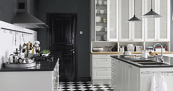 black walls with white cabinets