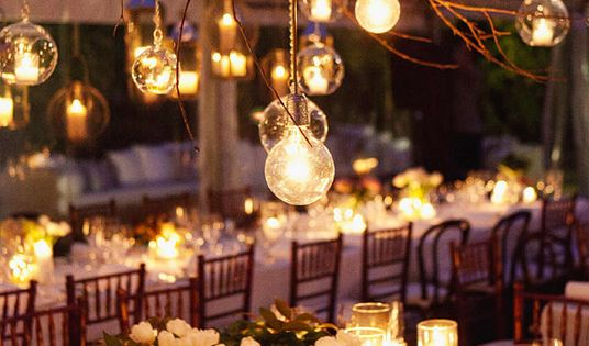 love the lights from the branches- use garland of curled grape vines
