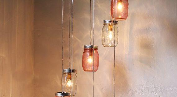 Pretty in Pink - Mason Jar Chandelier Hanging Light Fixture - Spiral