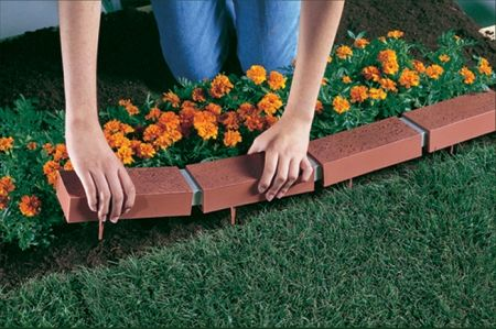 Solar Powered Fax Brick Edging For A Green Pathway Garden Edging Brick Edging Backyard Landscaping Designs