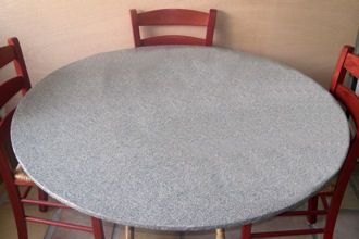 Grey Granite Fitted Tablecloth With Elastic Fits 36inch To 48inch