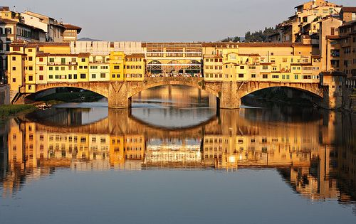Ponte Vecchio, Florence. On either side of the bridge are jewelry shops.