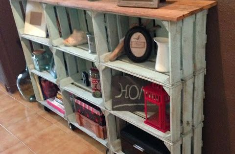 easy crate bookcase.. could maybe use this as a buffet in a