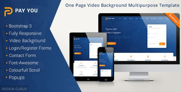 Payyou Bootstrap 3 One Page Video Background Multipurpose Responsive Template Template Site Video Background Templates