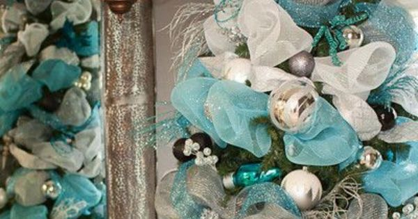 christmas trees decorated with mesh | ... teal and white deco mesh