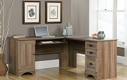Sauder harbor view corner computer desk in salt oak sauder for Oak harbor furniture