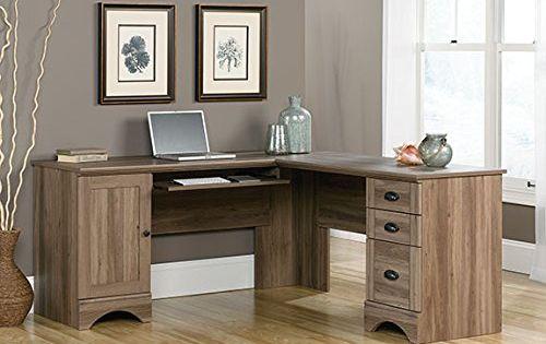 Sauder harbor view corner computer desk in salt oak sauder for Oak harbor furniture