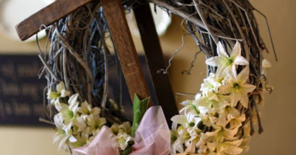 Easter Cross Wreath for front door. @Tess Pias Pias murphy
