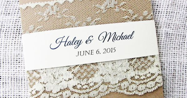 Lace Wedding Invitation Rustic Wedding by LoveofCreating on Etsy ‎HEPTEAM‬