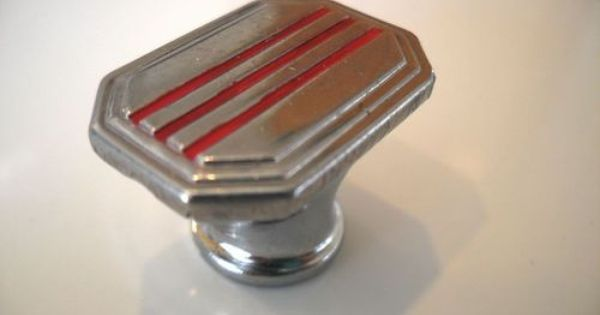 VINTAGE CHROME /& RED LINES CABINET DOOR PULL HANDLE DRAWER ART DECO METAL