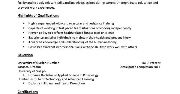 Kinesiology Sample Resume  http resumesdesign