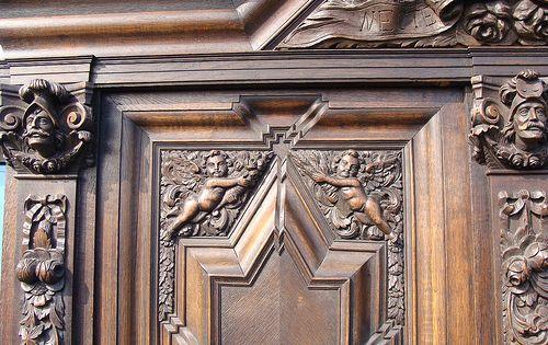 Danziger Barock Schrank Schapp Um 1860 Eiche Schnitzerei Wappen Historismus Schnitzerei Eiche Wappen