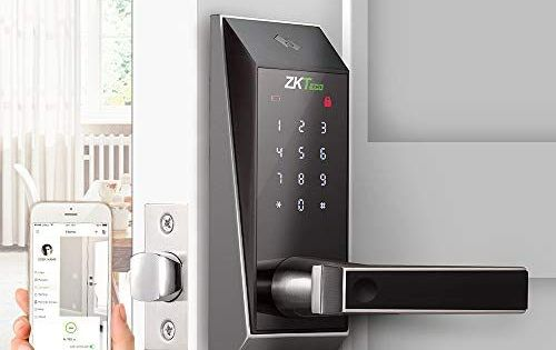 Bluetooth Enabled Keyless Keypad Door Lock Digital Electronic Smart Locks 5 Pcs Mifare Cards With Zk Smart Key App Smart Door Locks Keypad Door Locks Smart Key
