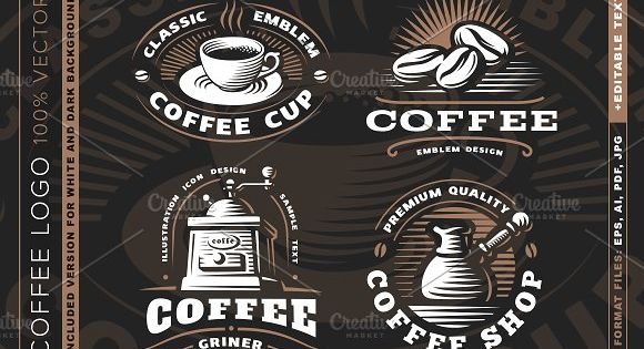 Coffee logo set for cafe and restaurant