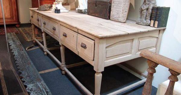 Large french antique work table in oak sold office table and kitchens - Vintage kitchen features work modern kitchen ...