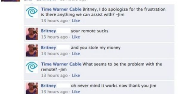 Idiot Posts Complaint On Time Warner Cable S Facebook Wall Facebook Fail Time Warner Funny Facebook Status