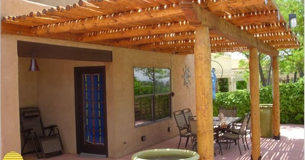 Attached southwest style pergola landscaping for Southwest pergola
