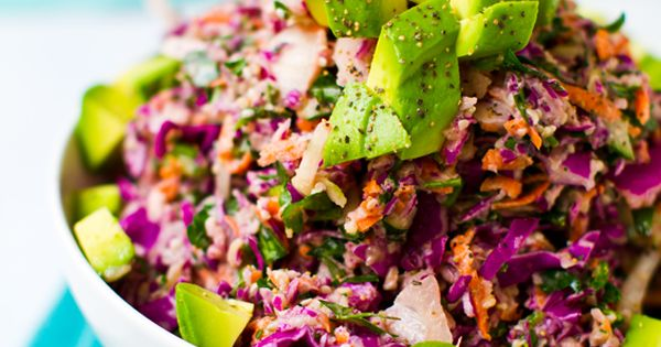 Rainbow Slaw with Sweet Tahini Dressing - colorful and vitamin-packed