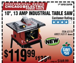 10 In 13 Amp Benchtop Table Saw Benchtop Table Saw Harbor