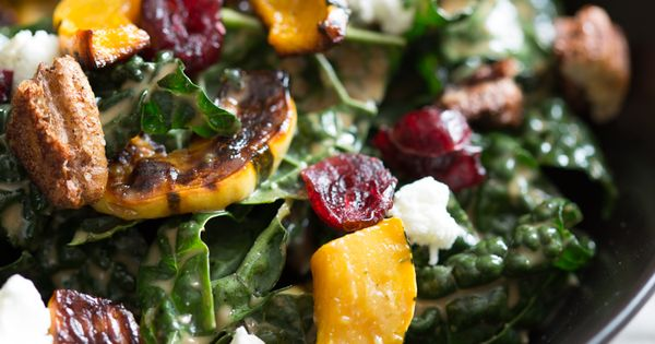 Check out Kale salad with roasted delicata squash, chevre ...