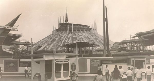 the construction of disneyland 39 s 1977 space mountain and the tomorrowland show stage front. Black Bedroom Furniture Sets. Home Design Ideas