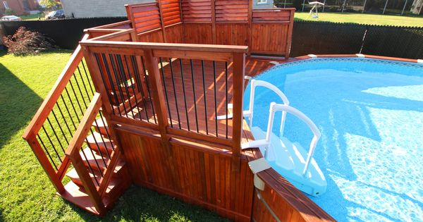 Cedar Above Ground Pool Deck With Privacy Screens And