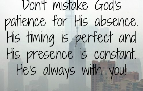 God's timing is perfect timing!