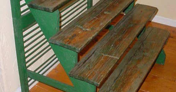 Vintage 5 Tier Stair Step Wood Plant Display Stand Stair