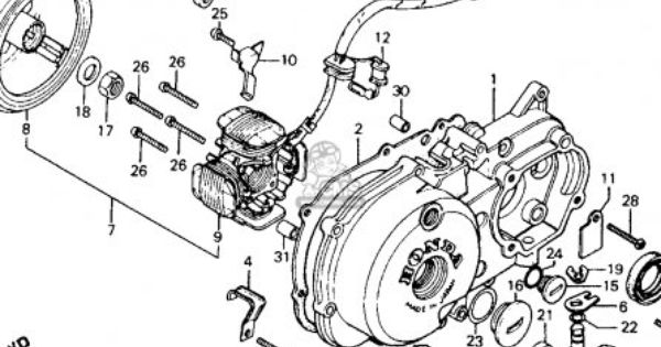 honda ct110 trail 110 1986 usa left crankcase cover ct110 engine wiring diagram ct110 engine diagram #2