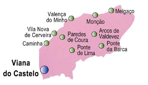 Mapa Do Distrito De Viana Do Castelo Portugal Viana Do Castelo