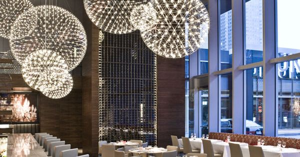 dandelion chandeliers - Aria restaurant in Toronto (not a house, but soooo