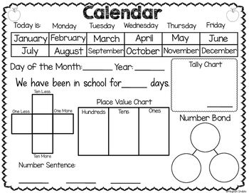 Calendar Recording Sheets Interactive Calendar Freebie Calendar Math First Grade Calendar Interactive Calendar